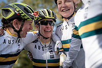 Amanda Spratt (AUS/Mitchelton-Scott) takes bronze & is celebrated by her teammates<br /> <br /> Elite Women Road Race from Bradford to Harrogate (149km)<br /> 2019 Road World Championships Yorkshire (GBR)<br /> <br /> ©kramon