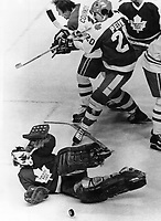 Special to Toronto Star . . Goal tender Mike Palmateer makes a save against Canadiens speedster Yvan Cournoyer; as Mike Pelik mives him out of the play.<br /> <br /> Bezant, Graham<br /> Picture, 1978<br /> <br /> 1978<br /> <br /> PHOTO : Graham Bezant - Toronto Star Archives - AQP