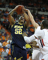Nov 30, 2010; Clemson, SC, USA; Michigan Wolverines forward Jordan Morgan (52) goes up for a shot in the game against the Clemson Tigers at Littlejohn Coliseum. Mandatory Credit: Daniel Shirey/WM Photo -US PRESSWIRE