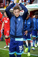 Dayle Southwell of Wycombe Wanderers wearing the commemorative track suit top before the Sky Bet League 2 match between Crawley Town and Wycombe Wanderers at Broadfield Stadium, Crawley, England on 6 August 2016. Photo by Alan  Stanford / PRiME Media Images.