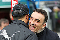 (L-R) Huddersfield manager David Wagner and Swansea manager Carlos Carvalhal embrace prior to the game during the Premier League match between Huddersfield Town and Swansea City and at the John Smith's Stadium Huddersfield, England, UK. Saturday 10 March 2018