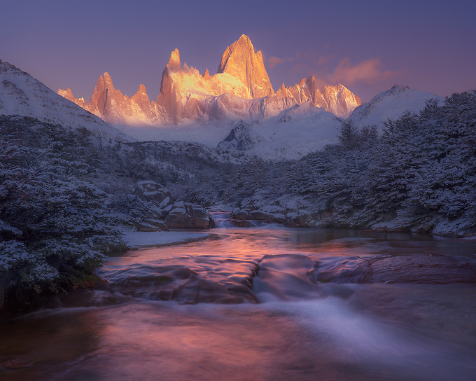 The first light of day illuminates Mt. Fitz Roy on a cold, snowy morning.<br /> Artist Edition: 15/100 Limited