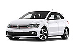 Stock pictures of low aggressive front three quarter view of a 2018 Volkswagen Polo GTI 5 Door Hatchback