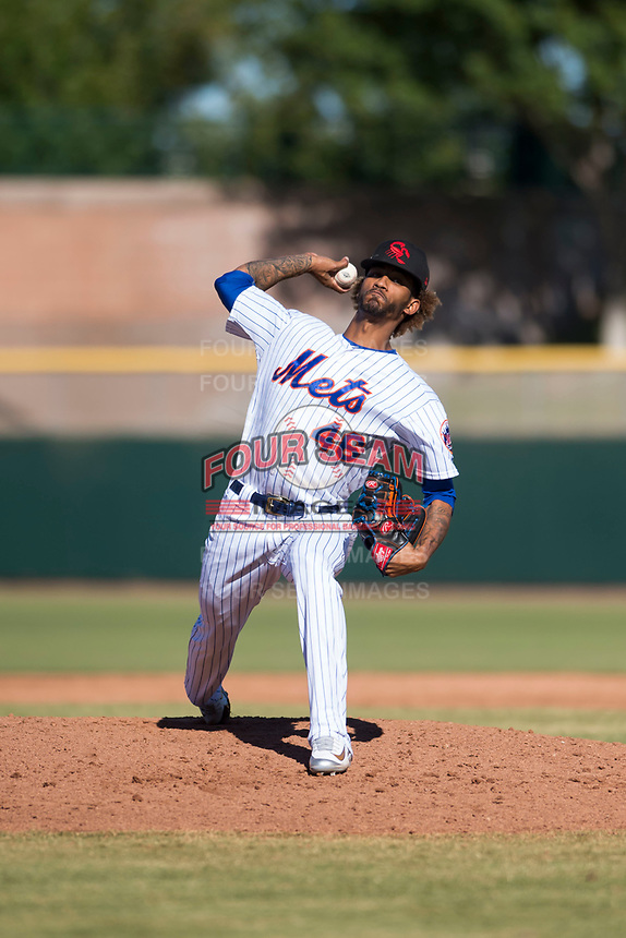 Scottsdale Scorpions relief pitcher Gerson Bautista (46), of the New York Mets organization, delivers a pitch during an Arizona Fall League game against the Surprise Saguaros at Scottsdale Stadium on October 26, 2018 in Scottsdale, Arizona. Surprise defeated Scottsdale 3-1. (Zachary Lucy/Four Seam Images)
