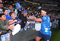 Alex Hodgson thanks fans after the Super Rugby Tran-Tasman final between the Blues and Highlanders at Eden Park in Auckland, New Zealand on Saturday, 19 June 2021. Photo: Dave Lintott / lintottphoto.co.nz