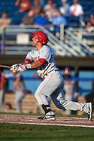 Auburn Doubledays designated hitter Adderling Ruiz (13) at bat during a game against the Batavia Muckdogs on August 27, 2014 at Dwyer Stadium in Batavia, New York.  Auburn defeated Batavia 6-4.  (Mike Janes/Four Seam Images)