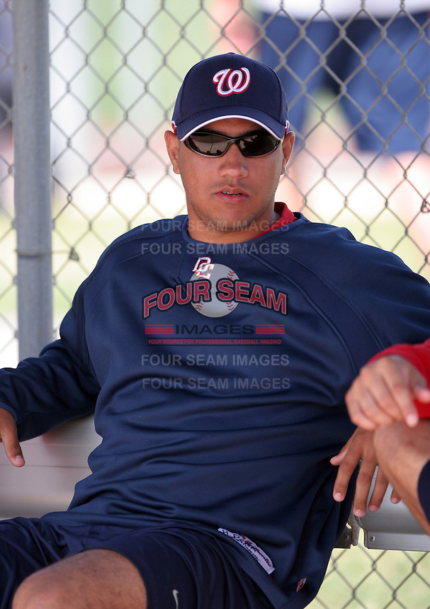 Washington Nationals minor leaguer Hassan Pena during Spring Training at the Carl Barger Training Complex on March 20, 2007 in Melbourne, Florida.  (Mike Janes/Four Seam Images)