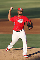 Manaurys Correa #63 of the  Inland Empire 66'ers pitches against the High Desert Mavericks at San Manuel Stadium on August 26, 2012 in San Bernardino, California. High Desert defeated Inland Empire 4-0. (Larry Goren/Four Seam Images)