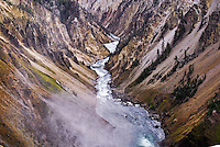 """""""GRAND CANYON""""<br /> <br /> Steam rising in the foreground, the Yellowstone River carves its way down Yellowstone's dramatic Grand Canyon."""