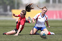 Action from the National Women's League football match between Canterbury United and Auckland FC at English Park in Christchurch, New Zealand on Saturday, 7 December 2019. Photo: Martin Hunter/ lintottphoto.co.nz