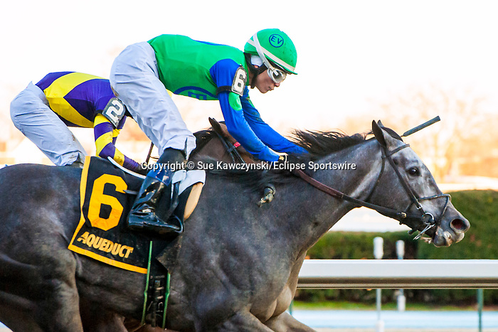MARCH 07, 2020 : Water White, #6, with Jorge Vargas Jr abourd outduels Kansas Kiss, #2, to  win the Busher Stakes, for 3 year old fillies, at Aqueduct Racecourse in Ozone Park, NY.  Sue Kawczynski/Eclipse Sportswire/CSM