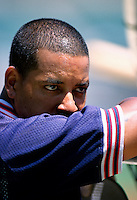 Manny Ramirez of the Cleveland Indians plays in a baseball game at Edison International Field during the 1998 season in Anaheim, California. (Larry Goren/Four Seam Images)