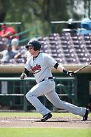 Marty Herum (27) of the Visalia Rawhide bats against the Inland Empire 66ers at San Manuel Stadium on June 5, 2017 in San Bernardino, California. Visalia defeated Inland Empire, 9-1. (Larry Goren/Four Seam Images)