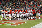 The Texas Red Raiders get ready for the Meineke Car Care Bowl game of Texas between the Texas Tech Red Raiders and the Minnesota Golden Gophers at the Reliant Stadium in Houston, Texas. Texas defeats Minnesota 34 to 31.