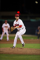 Orem Owlz relief pitcher Kyle Tyler (21) delivers a pitch during a Pioneer League game against the Ogden Raptors at Home of the OWLZ on August 24, 2018 in Orem, Utah. The Ogden Raptors defeated the Orem Owlz by a score of 13-5. (Zachary Lucy/Four Seam Images)