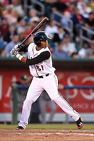 Lansing Lugnuts shortstop Dawel Lugo (31) at bat during a game against the South Bend Silver Hawks on June 6, 2014 at Cooley Law School Stadium in Lansing, Michigan.  South Bend defeated Lansing 13-5.  (Mike Janes/Four Seam Images)