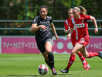 Sara Yuceil (13) of OHL and Charlotte Cranshoff (18) of Standard  in action during a female soccer game between Standard Femina de Liege and Oud Heverlee Leuven on the 10th and last matchday in play off 1 of the 2020 - 2021 season of Belgian Scooore Womens Super League , saturday 29 th of May 2021  in Angleur , Belgium . PHOTO SPORTPIX.BE   SPP   SEVIL OKTEM