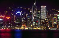 Looking across Victoria Harbor at Hong Kong, night