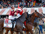 Catholic Boy (no. 11) wins the Travers Stakes (Grade 1), Aug. 25, 2018 at the Saratoga Race Course, Saratoga Springs, NY.  Ridden by  Javier Castellano, and trained by Jonathan Thomas, Catholic Boy finished 4 lengths in front of Mendelssohn (No. 8).  (Bruce Dudek/Eclipse Sportswire)