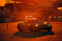 12-15 March 2008, Sebring, Florida, USA.The #3 Corvette C6.R heads onto the track for night practice..©F.Peirce Williams 2008, USA .