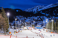 22nd December 2020, Madonna di Campiglio, Italy; FIS Mens slalom world cup race;  overview during inspection before 1st run of mens Slalom