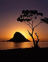 Chinaman's Hat, Mokolii Island at Sunrise, Oahu, Hawaii, USA.