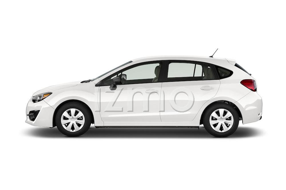 Car Driver side profile view of a 2015 Subaru Impreza 2.0I Auto 4 Door Hatchback Side View