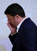 Il Presidente del Consiglio Matteo Renzi tiene una conferenza stampa al termine del Consiglio dei Ministri a Palazzo Chigi, Roma, 30 giugno 2014.<br /> Italian Premier Matteo Renzi attends a press conference at the end of a cabinet meeting at Chigi Palace, Rome, 30 June 2014.<br /> UPDATE IMAGES PRESS/Isabella Bonotto