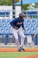Atlanta Braves Mahki Backstrom (63) leads off first base during a Minor League Spring Training game against the Tampa Bay Rays on June 1, 2021 at Charlotte Sports Park in Port Charlotte, Florida.  (Mike Janes/Four Seam Images)
