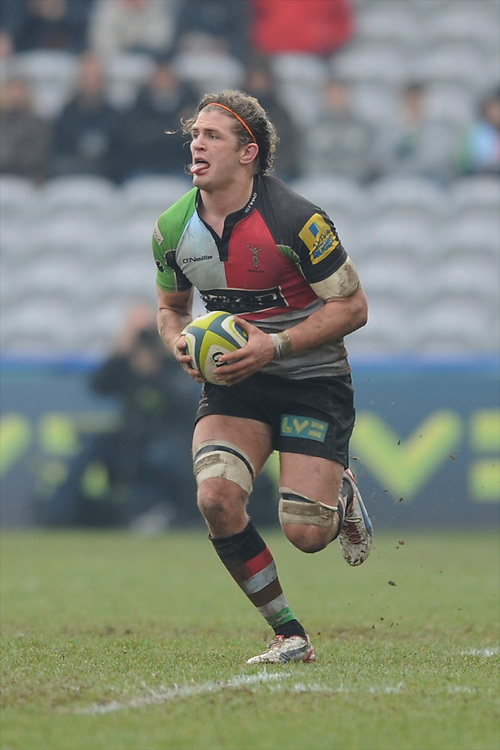 20130309 Copyright onEdition 2013©.Free for editorial use image, please credit: onEdition..Luke Wallace of Harlequins in action during the LV= Cup semi final match between Harlequins and Bath Rugby at The Twickenham Stoop on Saturday 9th March 2013 (Photo by Rob Munro)..For press contacts contact: Sam Feasey at brandRapport on M: +44 (0)7717 757114 E: SFeasey@brand-rapport.com..If you require a higher resolution image or you have any other onEdition photographic enquiries, please contact onEdition on 0845 900 2 900 or email info@onEdition.com.This image is copyright onEdition 2013©..This image has been supplied by onEdition and must be credited onEdition. The author is asserting his full Moral rights in relation to the publication of this image. Rights for onward transmission of any image or file is not granted or implied. Changing or deleting Copyright information is illegal as specified in the Copyright, Design and Patents Act 1988. If you are in any way unsure of your right to publish this image please contact onEdition on 0845 900 2 900 or email info@onEdition.com