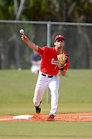 Ohio State Buckeyes third baseman Jacob Bosiokovic #17 touches third for a force out while throwing to first during a game against the South Dakota State Jackrabbits at North Charlotte Regional Park on February 23, 2013 in Port Charlotte, Florida.  Ohio State defeated South Dakota State 5-2.  (Mike Janes/Four Seam Images)