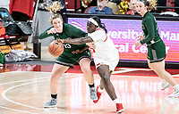 COLLEGE PARK, MD - DECEMBER 8: Ashley Owusu #15 of Maryland steals the ball from Isabella Therien #13 of Loyola during a game between Loyola University and University of Maryland at Xfinity Center on December 8, 2019 in College Park, Maryland.