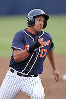 Carlos Lopez #17 of the Cal. St. Fullerton Titans runs the bases against the Cal. St. Long Beach 49'ers at Goodwin Field in Fullerton,California on May 14, 2011. Photo by Larry Goren/Four Seam Images