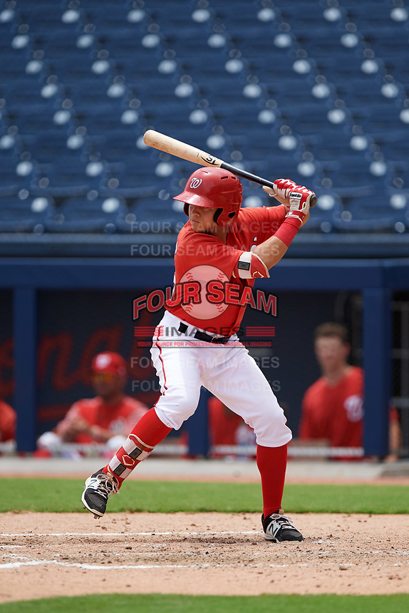 GCL Nationals left fielder Ricardo Mendez (16) at bat during the second game of a doubleheader against the GCL Mets on July 22, 2017 at The Ballpark of the Palm Beaches in Palm Beach, Florida.  GCL Mets defeated the GCL Nationals 1-0.  (Mike Janes/Four Seam Images)
