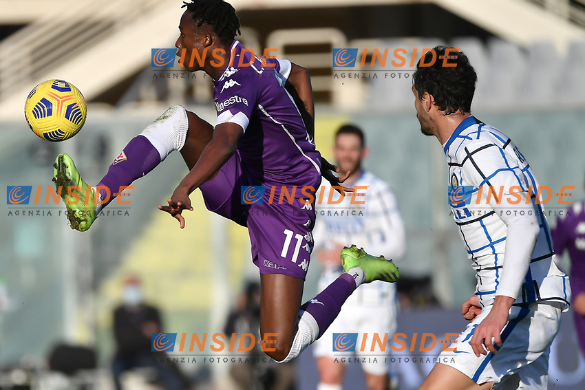 Christian Kouame of ACF Fiorentina and Andrea Ranocchia of FC Internazionale during the Italy Cup round of 16 football match between ACF Fiorentina and FC Internazionale at Artemio Franchi stadium in Firenze (Italy), January 13th, 2021. Photo Andrea Staccioli / Insidefoto