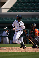 Detroit Tigers Eric De La Rosa (55) bats during a Minor League Spring Training game against the Baltimore Orioles on April 14, 2021 at Joker Marchant Stadium in Lakeland, Florida.  (Mike Janes/Four Seam Images)