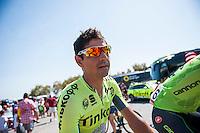 Castellon, SPAIN - SEPTEMBER 7: Tinkoff biker  during LA Vuelta 2016 on September 7, 2016 in Castellon, Spain
