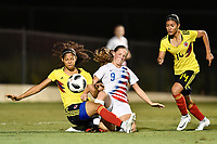 Lakewood Ranch, FL - Wednesday, October 10, 2018:   Andrea Perez C., Hannah Bebar during a U-17 USWNT match against Colombia.  The U-17 USWNT defeated Colombia 4-1.