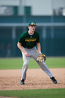 Cole Wedding (20), from Lake Village, Indiana, while playing for the Athletics during the Baseball Factory Pirate City Christmas Camp & Tournament on December 28, 2017 at Pirate City in Bradenton, Florida.  (Mike Janes/Four Seam Images)