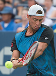 Lleyton Hewitt (AUS) loses the first set to Bernard Tomic (AUS) 6-3 at the US Open in Flushing, NY on September 3, 2015.