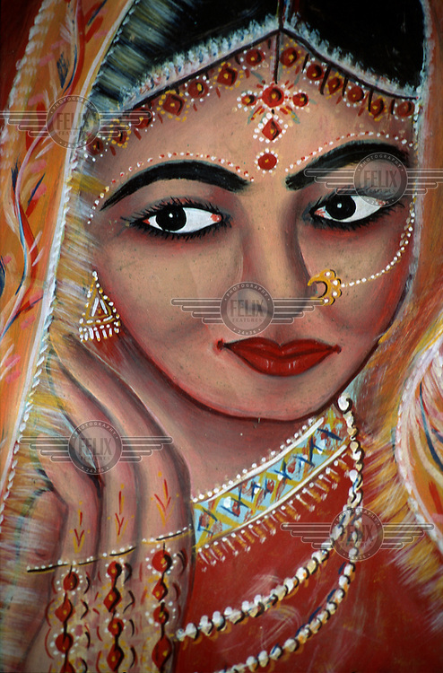 Painted image of a bride with jewellery and body painting advertising a beauty parlour.