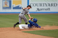 Cal Poly San Luis Obispo Mustangs Kyle Marinconz (4) and UC-Riverside Highlanders Nathan Webb (15) in action during the game between the UC-Riverside Highlanders and the Cal Poly San Luis Obispo Mustangs at Riverside Sports Complex on May 26, 2018 in Riverside, California. The Cal Poly SLO Mustangs defeated the UC Riverside Highlanders 6-5. (Donn Parris/Four Seam Images)