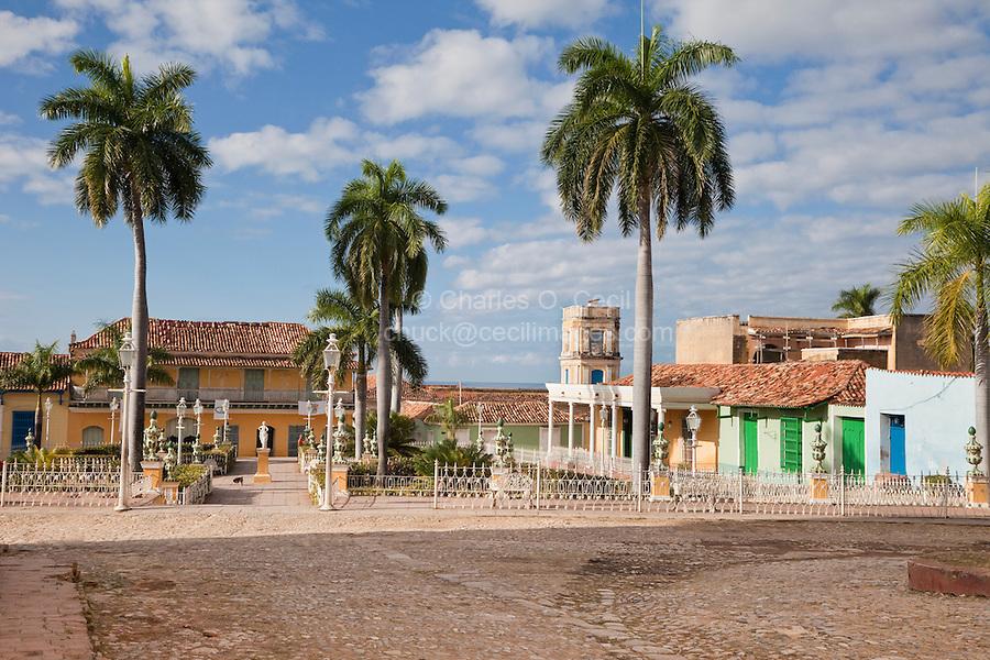 Cuba, Trinidad.  Plaza Mayor.  Tower of the Palacio Cantero, center rear.