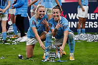 1st November 2020; Wembley Stadium, London, England; Womens FA Cup Final Football, Everton Womens versus Manchester City Womens; Lucy Bronze and Alex Greenwood of Manchester City Women pose with the Trophy
