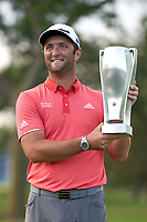 30th August 2020, Olympia Fields, Illinois, USA; Jon Rahm of Spain celebrates with the BMW trophy after winning on the first sudden-death playoff hole against Dustin Johnson (not pictured) during the final round of the BMW Championship on the (North) Course at Olympia Fields Country Club