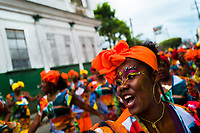 Afro-Colombian dancers of the Alameda Reyes neighborhood perform during the San Pacho festival in Quibdó, Colombia, 2 October 2019. Every year at the turn of September and October, the capital of the Pacific region of Chocó holds the celebrations in honor of Saint Francis of Assisi (locally named as San Pacho), recognized as Intangible Cultural Heritage by UNESCO. Each day carnival groups, wearing bright colorful costumes and representing each neighborhood, dance throughout the city, supported by brass bands playing live music. The festival culminates in a traditional boat ride on the Atrato River, followed by massive religious processions, which accent the pillars of Afro-Colombian's identity – the Catholic devotion grown from African roots.