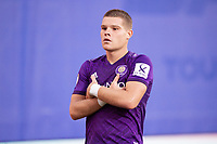 LAKE BUENA VISTA, FL - JULY 14: Chris Mueller #9 of Orlando City SC celebrates a goal during a game between Orlando City SC and New York City FC at Wide World of Sports on July 14, 2020 in Lake Buena Vista, Florida.