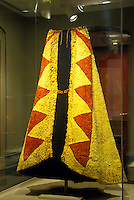 A display of a royal cape in Iolani Palace, which is a 4-story Italian Renaissance palace that was built in 1882 and is in downtown Honolulu