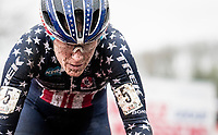American Champion Katie Compton (USA/KFC Racing p/b Trek/Panache) in action and who'll eventually wil finish 2nd on the podium<br /> <br /> Jaarmarktcross Niel 2019 (BEL)<br /> <br /> ©kramon