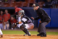Wisconsin-Milwaukee Panthers catcher Daulton Varsho (10) and umpire Jeff Gould await the pitch during a game against the Ball State Cardinals on February 26, 2016 at Chain of Lakes Stadium in Winter Haven, Florida.  Ball State defeated Wisconsin-Milwaukee 11-5.  (Mike Janes/Four Seam Images)